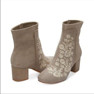 Toms Grey Embroidered Suede Leather Booties 8